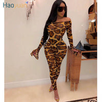 HAOYUAN Mesh Sheer Leopard Camouflage Two Piece Set Women Festival Clothing Sexy Rompers Top Pant Matching 2 Piece Club Outfits