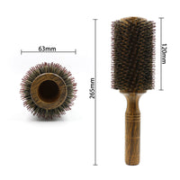 Professional 63mm Barber Wood Round Hair Brush 100% Boar Bristle Hair Blowing Comb For Long Hair Curling And Straightening Brush