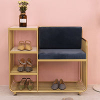 Creative Shoe Bench with 4 Layer Shoe Rack Backrest Chairs Combination Seatable Shoe Cabinet Storage Stool