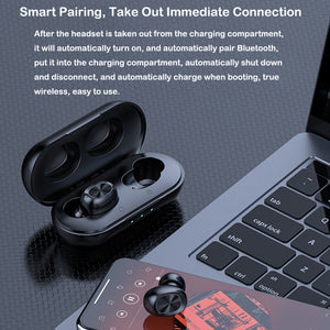 TWS Bluetooth Earphones Streo Wireless Earbuds with Wireless Charging Case 3D Stereo Sound IPX5 Waterproof Whit Charging Box