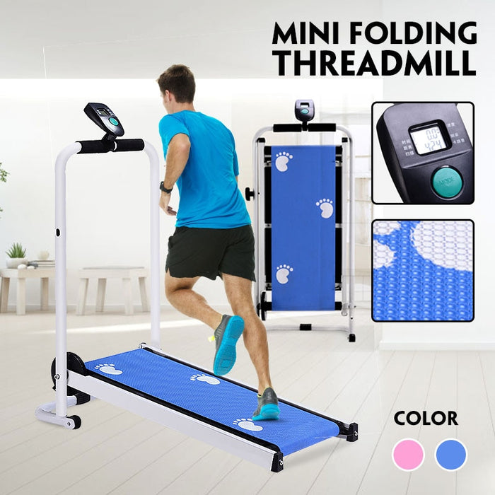Mechanical  Foldable Treadmill LED Display Jog Space Walk Machine Aerobic Sport Fitness