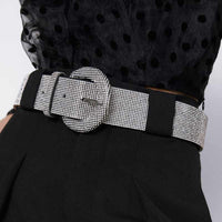 Girlgo Bohemian Fashion Crystal Shiny ZA Belt For Women PU Leather Metal Waist Belly Accessories Jewelry Wedding Party Gifts Ins