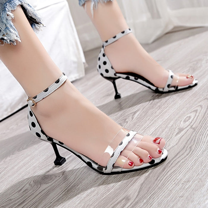 High Heels Sandals Black White Dots Shoes Pumps Open Toe Sandals for Summer Sexy Gladiator Sandals Transparent PVC Womens Shoes