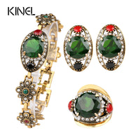 High Quality 2015 Fashion Gold Color Bridesmaid Green Jewelry Sets 2 Pieces Of  Earring Bracelet For Women