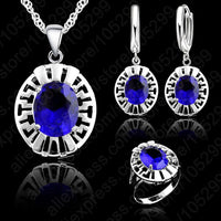 High Quality Blue CZ Crystal Wedding Necklace &Earring &Ring 3 Set Real 925 Sterling Silver Pendant Jewlery Set Gift Wholesale