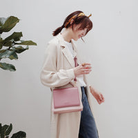 High Quality Pink Pu Leather Small Square Bag For Ladies Vintage Panelled Color Handbags Female Simple Daily Wild Crossbody Bag