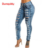 High Waist Jeans Women Sexy Skinny Pencil Pants Casual Blue Ripped Denim Pants Ladies Jeans Trouser Pants Plus Size Hollow Out
