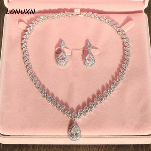 High grade bridal 2 pieces jewelry sets simple Necklace + Earrings wedding Big Water Drop Cubic Zirconia Set White crystal shiny