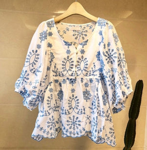 High quality New fashion Summer Loose Embroidered Shirt Womens Tops and Blouses