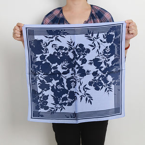 High quality silk scarf smooth navy blue traditional chinese style leaves plant ink silk scarf handbag decor scarf