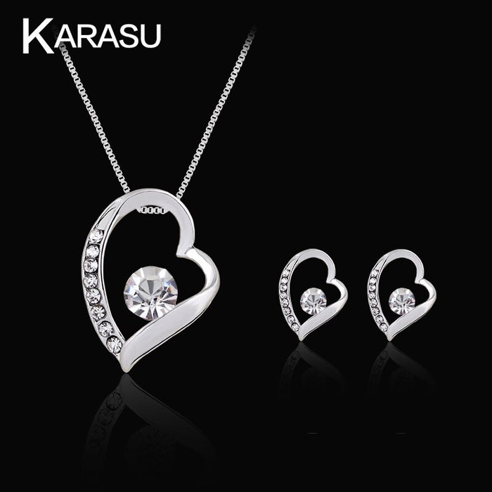 Hollow  Concise Happy Heart  Rhinestone Necklace Earring Set For Women 2-Piece Jewelry Set