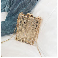 Hollow metal women shoulder bag gold cages square clutch evening ladies luxury wedding party crossbody purse handbag