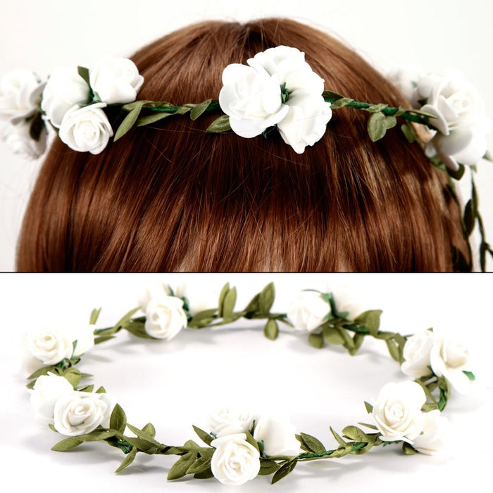 Hot 3 Flower / banquet! Headband Hair Accessories Wedding Floral head garland wedding Headband White