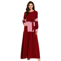 Hot Fashion Muslim Women Red Striped Dubai Maxi Dress Islam Women Kaftan Abaya Loose Clothing Muslim Dress 2019 New Arrivals