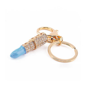 Hot Luxurious Crystal Key Chain Personality Lipstick Design Key Chain Women Fashion Casual Alloy Keychain