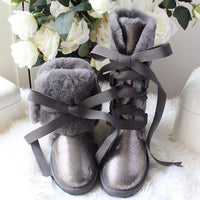 Fashion 100% Natural Fur Women Snow Boots genuine sheepskin