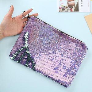Hot Sale Glossy Mermaid Sequin Large Capacity Women Travel Cosmetic Bag Storage Pen Pouch
