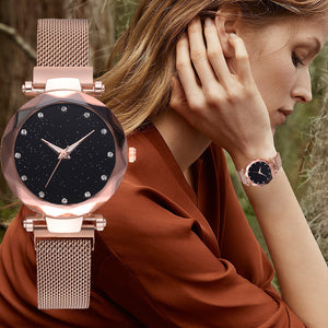 Hot Selling Women Fashion Magnet Buckle Starry Sky Watch Luxury Ladies Gift Quartz Clock Relogio Feminino @50