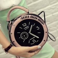 Hot Women 2019 Fashion Cute Handbags Personality Artistic Shoulder Bag Clock Alarm Clock Small Round Bag Fashion Rivet Bag