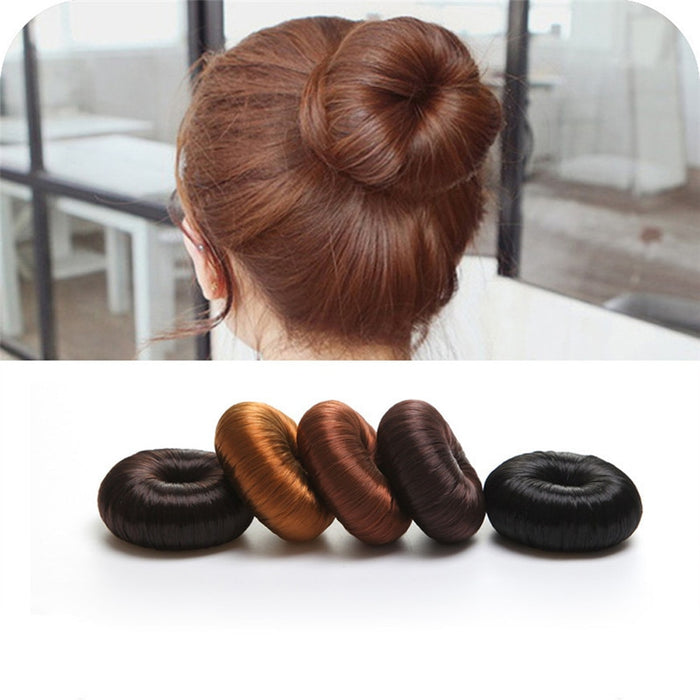 Hot Women Synthetic Fiber Hair Bun Donuts Ring Blonde Hair Extension Wig