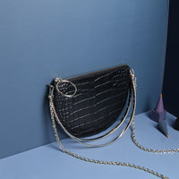 Hot niche design Korean version of the metal handle crocodile pattern half moon bags handbags chain mini bags small bags