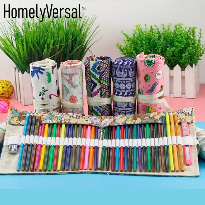 Hot sale creative 48 hole art canvas roll pen and pencil bag men and women sketch color curtain stationery case school supplies