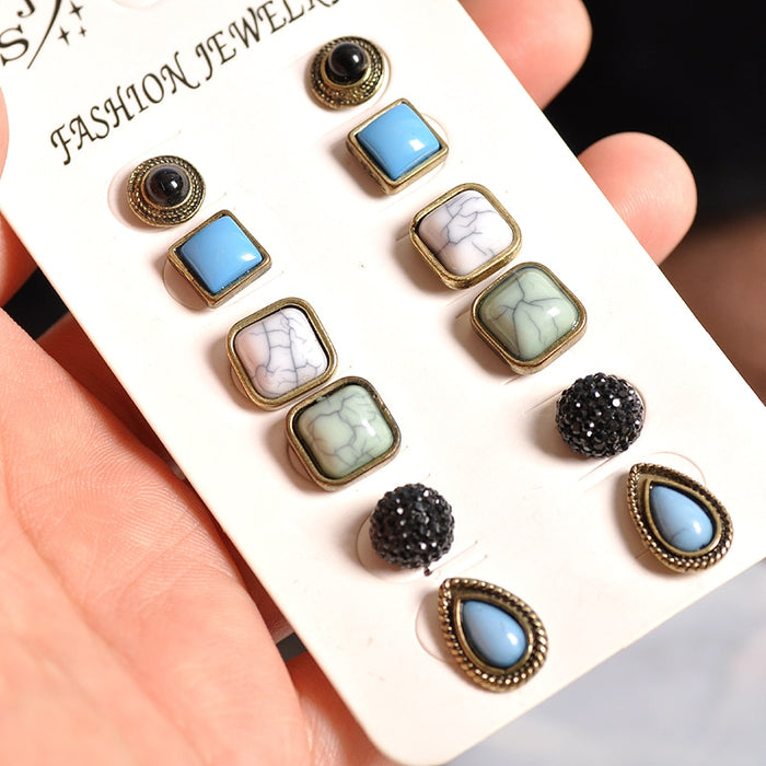 Hot vintage-chic women's jewelry wholesale girl boy's day party ears nail Bohemian style 6 pairs/set earrings free shipping