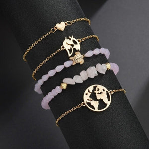 Huitan Bracelets Sets With Cute Pinapple Crawfish Pendant Decorations Fashion Beads&Tassel Women Wrist Chain