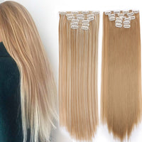 I's a wig 15 colors 16 clips Long Straight Synthetic Hair Extensions Clips in High Temperature Fiber Black Blonde Hairpiece