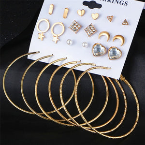 IF ME Fashion Stud Earring Set Mix for Women Gold Color Geometric Crystal Heart Triangle Star Moon Big Round Circle Brincos NEW