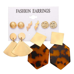 IF ME Vintage Geometric Gold Color Stud Earrings Set For Women Fashion Round Circle Leaf Piercing Metal Lady Earring Jewelry New