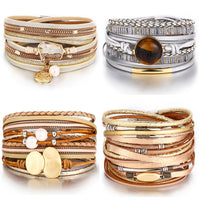 IF YOU Fashion Pearl Multilayer Leather Bracelet Bangle Woman Vintage Charm Pendant Bracelets 2019 Pulseira Jewelry  New