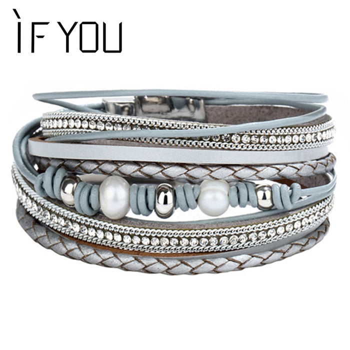 IF YOU Vintage crystal Imitation Pearl Leather Bracelet For Women Charm Multiple Layers Braided Bracelets Fashion Jewelry 2019
