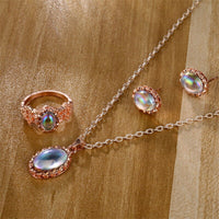 IFMIA color stone ring necklace earrings 3 piece set jewelry set wholesale cross-border new hot jewelry