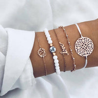 IPARAM Bohemian Square Crystal Turtle Tassel Bracelet Set for Women Vintage Multilayer Geometric Beaded Charm Bracelet Party Gif
