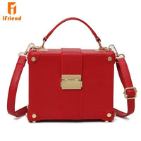 Ifriend Fashion Box Shape PU Leather Sohulder Bag Casual Buckle Handbag Women Messenger Crossbody Bag For Ladies Tote Bag