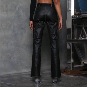Leg Pants Faux Leather PU Black High Waist Straight Pants Women