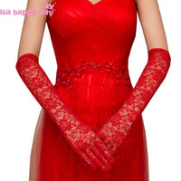 Ivory Red Black Women Bridal Elegant Gloves Elbow Length Full Finger