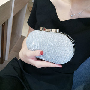 JHD-Wedding Bridal Beaded Women Evening Bag Chain Shoulder Handbags Elegant Rhinestones Clutch Evening Bag Egg Shape Day Clut