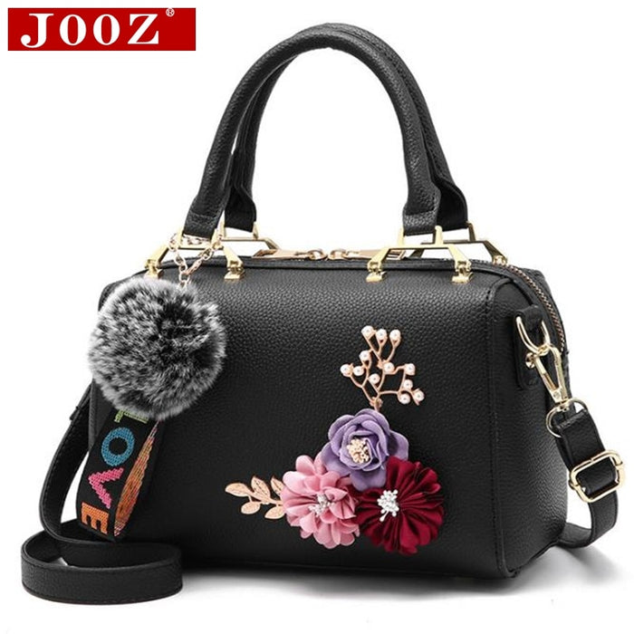 JOOZ New spring Women bags Floral women's Leather handbag Fashion Elegant Shoulder bag Barrel-shaped Tote bag