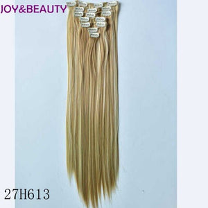 "JOY&BEAUTY 24"" Long Straight Synthetic Hair Clip In Hair Extensions 7pcs/set 130g Heat Resce Fibre For Clips Hairpiece 23 Colors"