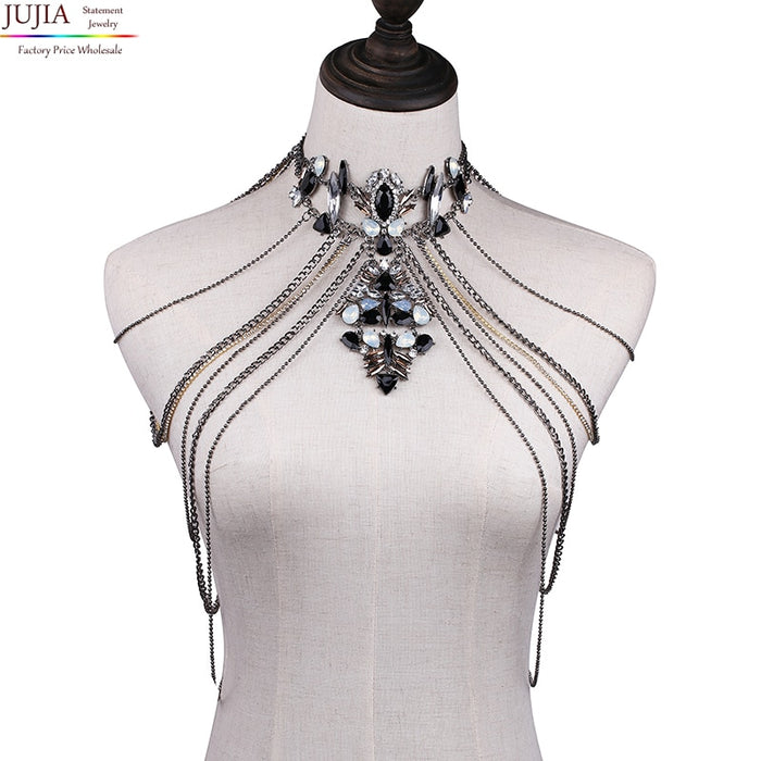 JUJIA Sexy Body Women Necklaces Tassel boho Necklace 2019 New Designer Female statement shoulder chain