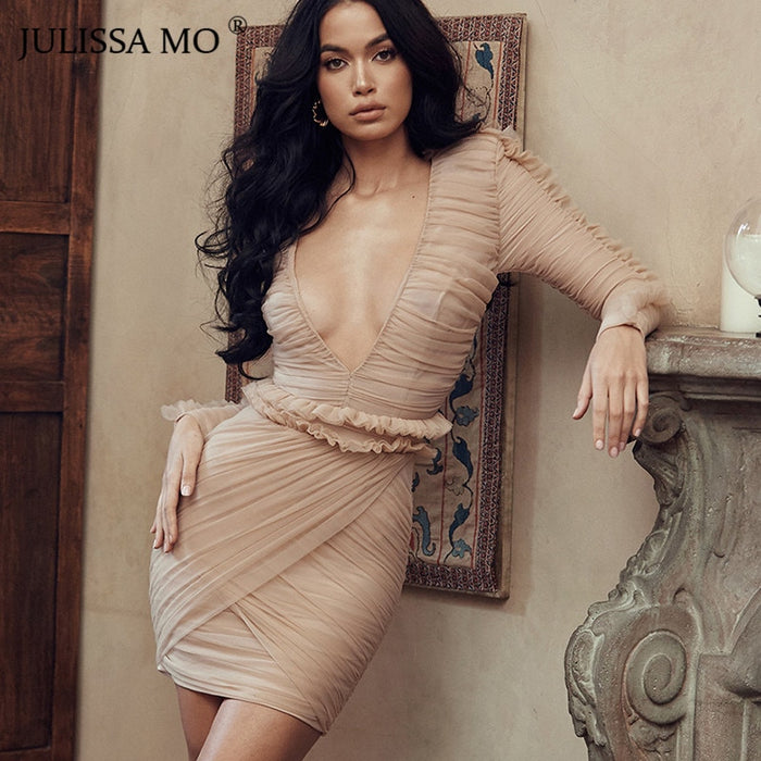 Mesh Evening Party Dress Women Ruffles Bodycon Mini Dresse