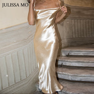 JULISSA MO Sexy Spaghetti Strap Backless Summer Dress Women Satin Lace Up Trumpet Long Dress Elegant Bodycon Party Dresses 2019