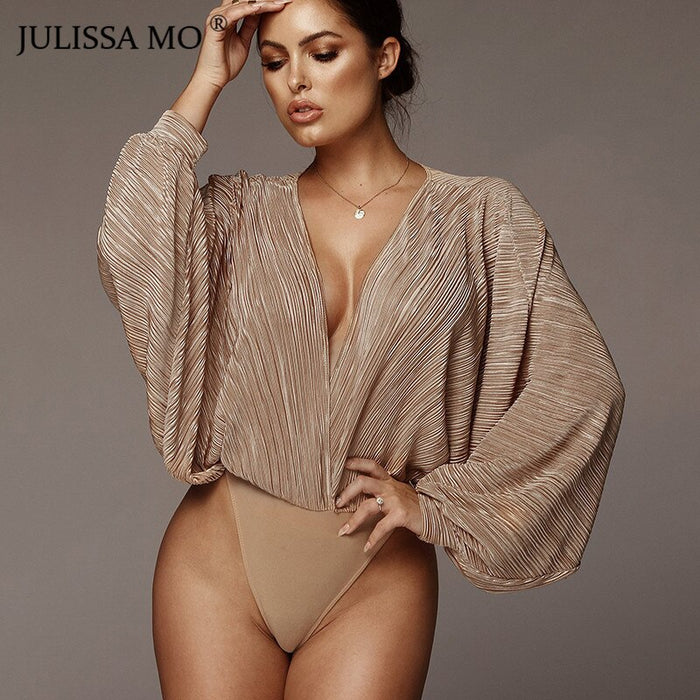 Sexy Bodysuit Women Vintage Long Sleeve Draped Jumpsuit Rompers 2019