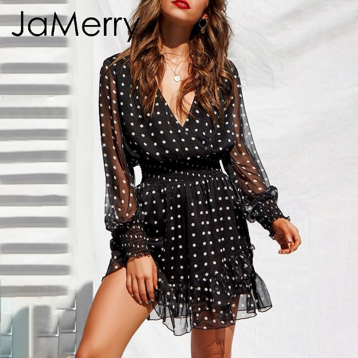 JaMerry Sexy vintage polka dot black mesh women dress Ruffled mini short dress elegant Long sleeve party dresses vestidos