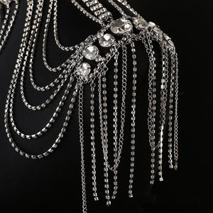 JaneVini 2018 Luxurious Crystal Bridal Shoulder Chain Bling Rhinestone Wedding Necklace Women Shoulder Tassel Chains Jewelry
