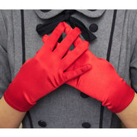JaneVini Gants Sexy Satin Gloves White Red Black Wedding Glove Full Finger