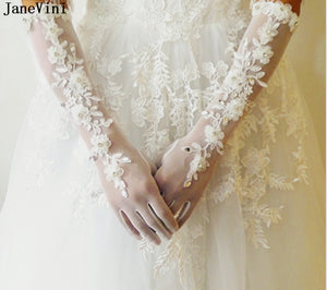 JaneVini Luxurious White Glove Elbow Length Wedding Gloves Appliques