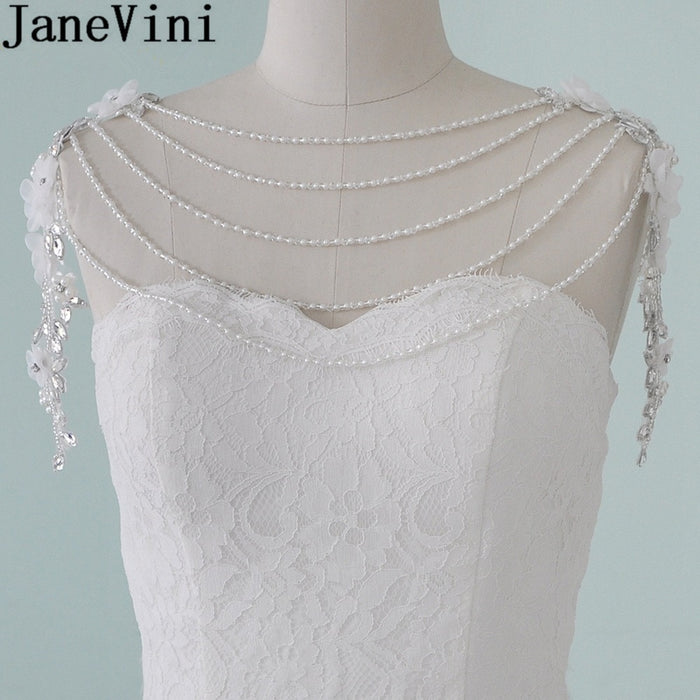 JaneVini Luxury Crystal Pearl Bridal Shoulder Chains Rhinestone Flowers Wedding Chains Wedding Shoulder Jewelry Chain Necklace